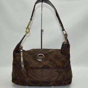 Coach Signature Stripe Brown Zip Hobo Bag F10839